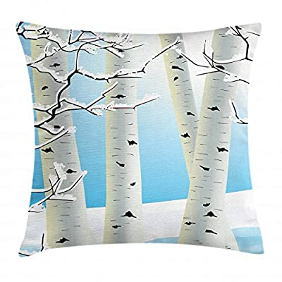 Ambesonne Winter Throw Pillow Cushion Cover, Snow Covered Birch Tree Seasonal Illustration of a Forest Woodland Design, Decorative Square Accent Pillow Case, Pale Blue Ivory Black
