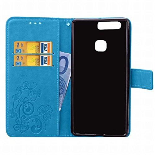 Yiizy Huawei P9 / EVA-L09 / EVA-L19 / EVA-L29 Custodia Cover, Tre Foglia Erba Design Sottile Flip Portafoglio PU Pelle Cuoio Copertura Shell Case Slot Schede Cavalletto Stile Libro Bumper Protettivo B