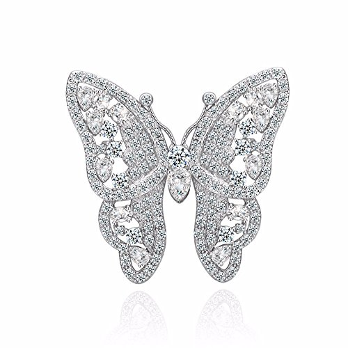 GULICX Shinning Butterfly Brooch Pin Silver Plated Base Party Gift with Full White Cubic - Brooch Pin Plated