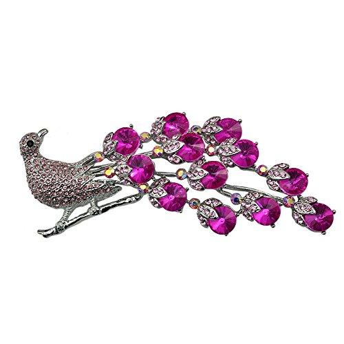(TTjewelry Elegant Pink Peacock Bird Silver Tone Brooch Pin Rhinestone Crystal Woman Jewelry)