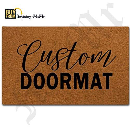 MsMr Door Mat Entrance Mat Custom Doormats Funny Entrance Floor Mat Non-Slip Doormat 23.6 by 15.7 Inch Machine Washable Non-Woven Fabric (Mat Front Door Custom)