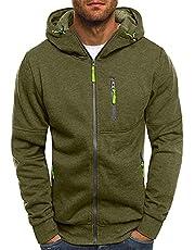 Mens Casual lange mouw hoodies Zip Up Vest Fleece jas Sweatshirts