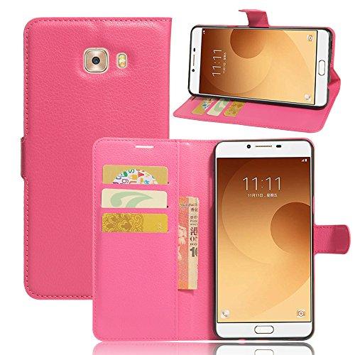 Funda Samsung Galaxy C9 pro,Manyip Caja del teléfono del cuero,Protector de Pantalla de Slim Case Estilo Billetera con Ranuras para Tarjetas, Soporte Plegable, Cierre Magnético(JFC8-12) E