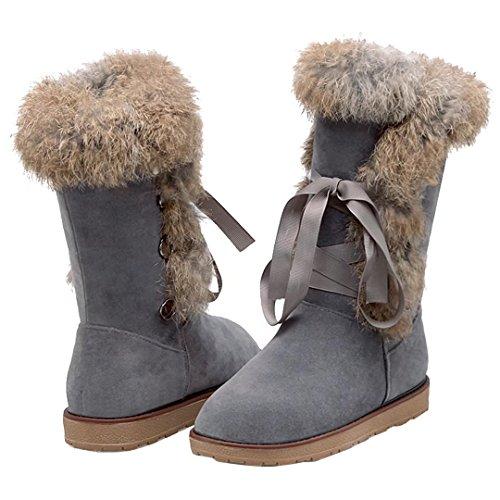 AIYOUMEI Damen Winter Flach Halb Stiefel mit Kunstfell und Schnürung Bequem Freizeit Mid Calf Boots WpMvDqngCu