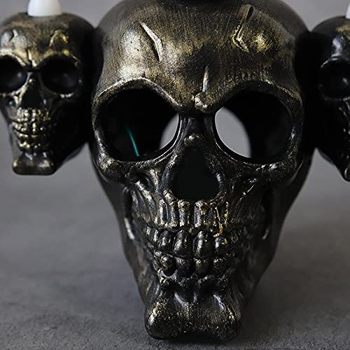 Skull Light Horror Candle Light Smoke Sandalwood LED Desktop Decoration , Halloween Decorations Perfect for Halloween Party, Haunted House Creating Horror Decoration (Gold)