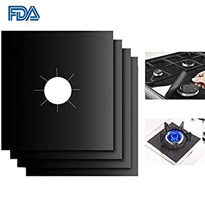"Gas Stove Burner Covers - 4-Pack 10.6""x10.6"" Custom Fit Gas Range Protectors – Fast Clean Liners for Kitchen/ Cooking– Reusable, Non-Stick, Dishwasher Safe, Easy to Clean - FDA Approved"