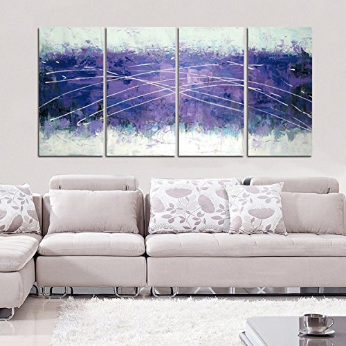 Gardenia Art - Purple Abstract wall  Art Hand Painted Contemporary