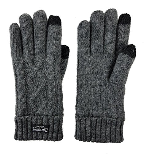 Bruceriver Women's Pure Wool with Thinsulate lining Knitted Gloves Size L (Grey ()