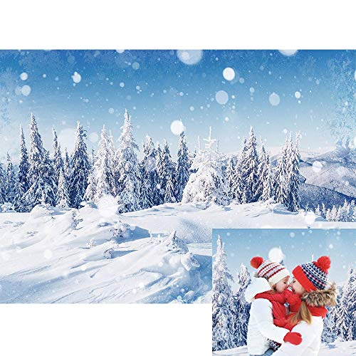 Allenjoy Winter Snowing Landscape Outdoor Backdrop Christmas Wonderland Snowflake Glitter Forest Snow Scene Pine Tree Kids Family Newborn Photo Booth Props Baby Shower 7x5ft Photography Background (Christmas Winter Photos Landscape)