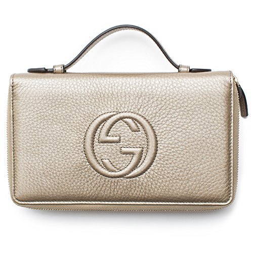 Gucci Soho Golden Beige Wallet Double Zip Clutch Travel Leather Bag Flat Italy (New Gucci Design)