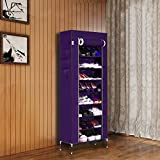 10 Tiers Non-woven Fabric Portable Metal Shoe Rack Vertical Floor Stand Up Storage Organizer for Men Women [US Stock] (Purple)
