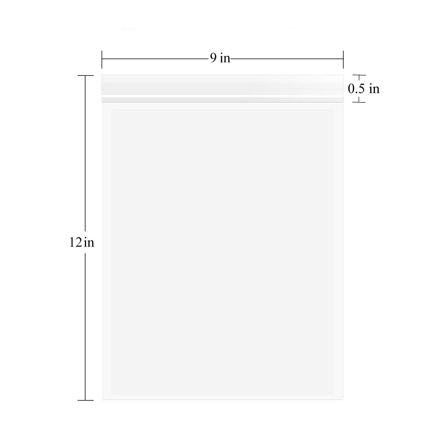 9'' x 12'', (Pack of 100)2.4Mil Disposable Clear Reclosable Zip Lock Bags Poly Zipper Bags Storage Plastic Bags for Jewelry, Gift Card, Candy,Instructions