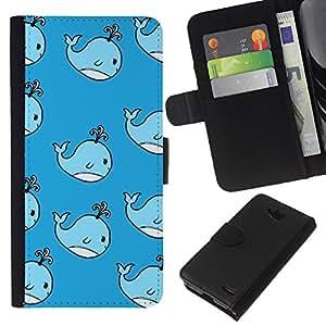 KLONGSHOP // Tirón de la caja Cartera de cuero con ranuras para tarjetas - niños lindos de ballenas azules dibujo de los niños - LG OPTIMUS L90 //