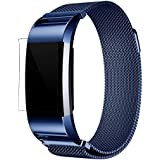 Exclusive Fashion Milanese Mesh Stainless Steel Watch Band Strap Bracelet, Ninasill New HD Film For Fitbit Charge 2 (Blue)