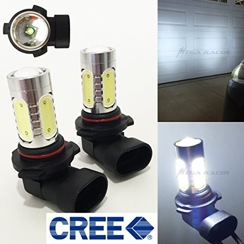 Crystal Hyper White Bulbs - Mega Racer (Set of 2) 9005-HB3 (High Beam Headlight) Hyper White 6000K CREE Q5 Plasma Projector LED Lamp Light Bulbs Replace Stock
