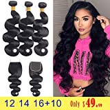 Brazilian Body Wave Bundles with Closure (12 14 16 +10 Free Part) 100% Unprocessed Brazilian Virgin Hair 3 Bundles with Closure 8A Human Hair Weave With Lace Closure Natural Black Color