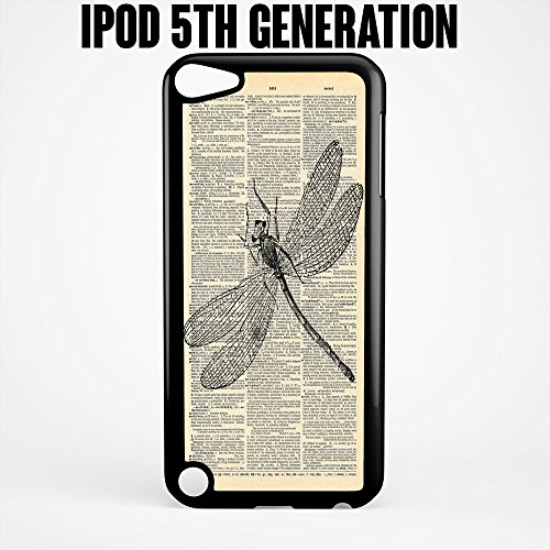iPod Case Dragonfly on Antique Text for Apple iPod 5/5G Plastic Black (Ships from CA)
