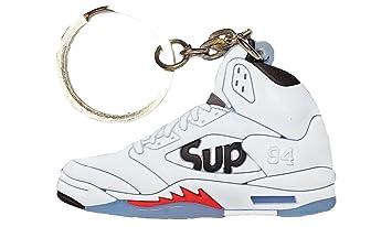 89a488b9b04 Nike Jordan 5 V White Black Red  quot Supreme quot  2D Flat Sneaker Keychain