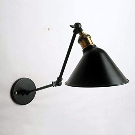 MYY Wall Lamps Double Section Arm Mechanical Black Copper Adjustable Rocker arms Modern Industrial LED Metal