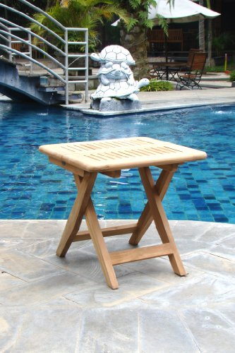 "UPC 794504320732, Grade-A Teak Wood Beautiful Kingston 23.5"" Folding Bath Shower Bench Stool Side End Table #WFAXSTKS"