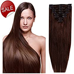 """Real Human Hair Extensions Clip On 16""""-22"""" 8 pcs Full Head 18 clips Light Weft"""