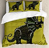 Lunarable Dinosaur Duvet Cover Set, Cartoon Style Anchiceratops Dino Jurassic, Decorative 3 Piece Bedding Set with 2 Pillow Shams, King Size, Dark Khaki Army Green Charcoal Grey and Olive Gree