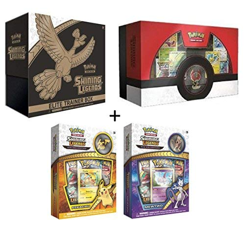 Pokemon TCG: Shining Legends Complete Collectors Set (Super Premium Ho-Oh Collection Box, Elite Trainer Box, MewTwo & Pikachu Pin Collector Boxes)