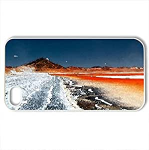 dust devils in a bolivian salt lake - Case Cover for iPhone 4 and 4s (Flowers Series, Watercolor style, White)