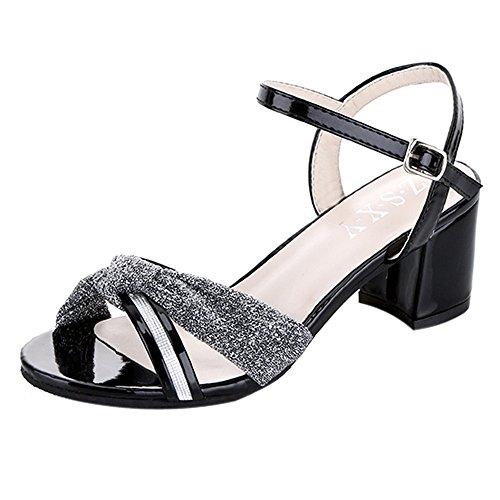Hunpta Frauen Mode Sommer Mid Heel Flip Flop Sandalen Slipper Böhmen Schuhe Schwarz