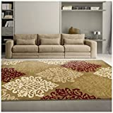 red and brown decor - Superior Danvers Collection Area Rug, Modern Elegant Damask Pattern, 10mm Pile Height with Jute Backing, Affordable Contemporary Rugs - Brown, 5' x 8' Rug