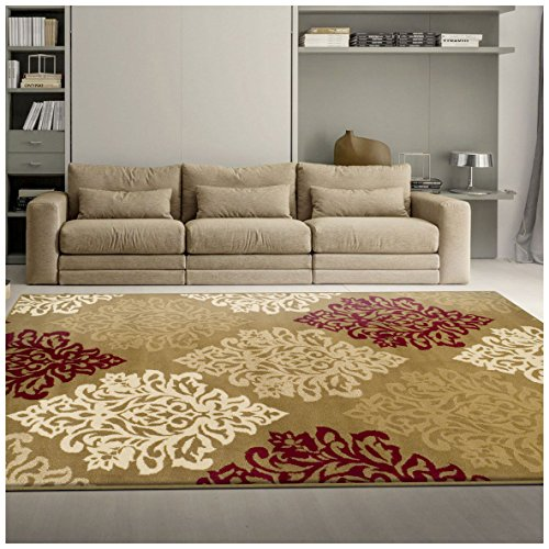 Superior Danvers Collection Area Rug, Modern Elegant Damask Pattern, 10mm Pile Height with Jute Backing, Affordable Contemporary Rugs - Brown, 8' x 10' (Palace Beige Rug)