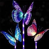 #3: Doingart Garden Solar Lights Outdoor - 3 Pack Solar Stake Light Multi-Color Changing LED Garden Lights, Decorative Lights, Solar Powered Stake Light (Butterfly Solar Garden Light)