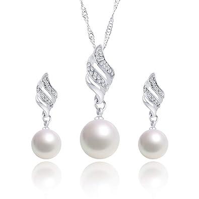 9c1e3ea6350 WikiMiu Parure Bijoux Fantaisie Femme Collier et Boucles d Oreilles en  Perle