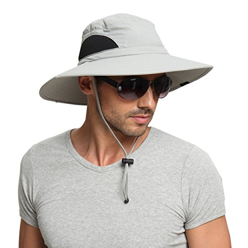 (EINSKEY Sun Hat for Men/Women, Summer Outdoor Sun Protection Wide Brim Bucket Hat Waterproof Breathable Packable Boonie Hat for Safari Fishing Hiking Beach Golf)