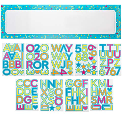 Juvale Customizable Banner - 10-Piece Custom Banner Kit - DIY Letter Banner with Stickers - Create Your Own Banner, 62 x 17.5-Inch Banner ()