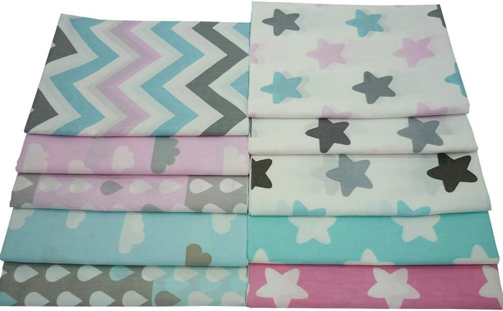 Retales de telas de algodón con estampados infantiles en zigzag y estrellas, 40 x 50 cm, 10 unidades: Amazon.es: Hogar