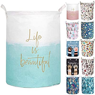 Merdes 19.7'' Waterproof Foldable Laundry Hamper, Dirty Clothes Laundry Basket, Linen Bin Storage Organizer for Toy Collection (Life Blue) - 🌟 Collapsible Design: Laundry bin can be quickly folded flat for storage when not in use, so you get the most use of every space. 🌟 Multi-Use Laundry Hamper: Clothes Storage, Home Textiles Storage, Toy Storage, Baby Product's Storage and Pet Product's Storage. 🌟 Material: Cotton & Linen Canvas + Waterproof PE Coating. - laundry-room, hampers-baskets, entryway-laundry-room - 511M9aoSA1L. SS400  -