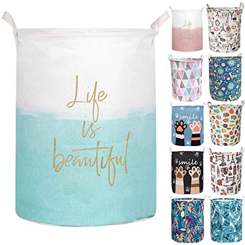 Aouker Merdes 19.7 Waterproof Foldable Laundry Hamper, Dirty Clothes Laundry Basket, Linen Bin Storage Organizer for Toy Collection (Life Blue)