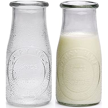 Circleware Hammered Glass Milk Bottles/Drinking Glasses, 16 Ounce, Set of 6, Limited Edition Glassware Serveware Drinkware