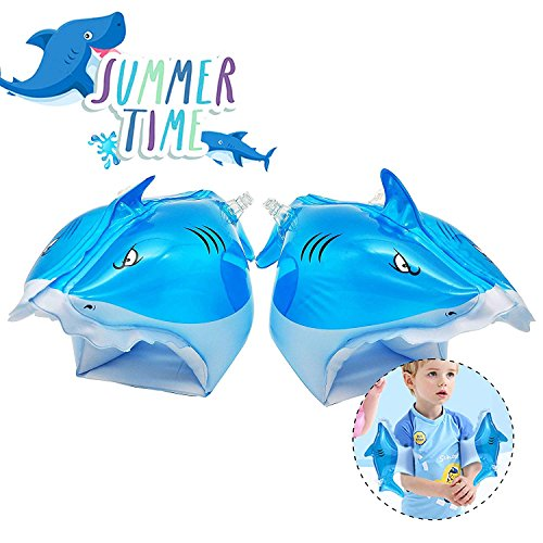 QUN FENG Swim Arms, Pool Floats Inflatable Bands Swimming Pool Toys for Kids Learn to Swim Float Shark,Blue