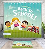 Unique Custom Bathroom 2-Piece Set Welcome Back To School Cute School Kids Shower Curtains And Bath Mats Set, 71''Wx79''H & 31''Wx20''H