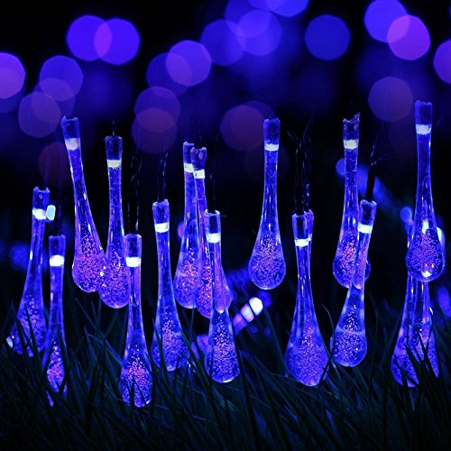 Berocia Outside String Lights Weatherproof, 20 ft 30 Crystal Water Drop 8 Modes LED Solar Christmas Lights Outdoor Waterproof for Home Garden Lawn Wedding Holiday Decoration