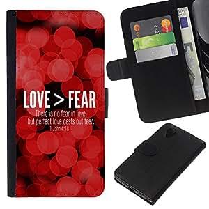 KLONGSHOP // Tirón de la caja Cartera de cuero con ranuras para tarjetas - BIBLIA Love> Miedo Juan 4:18 - LG Nexus 5 D820 D821 //