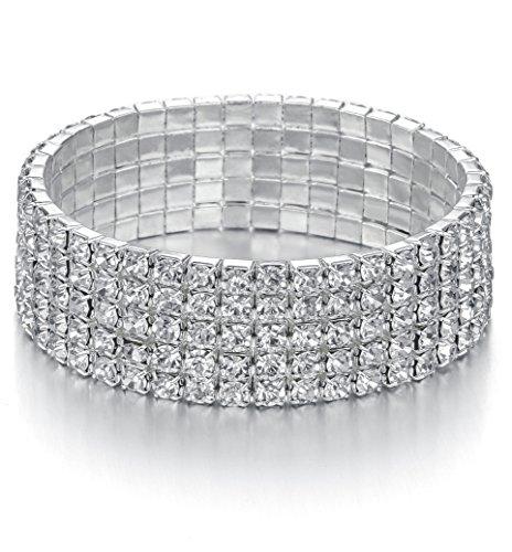 JEWMAY Yumei Jewelry 5 Strand Rhinestone Stretch Bracelet Silver-Tone Sparkling Bridal Tennis -