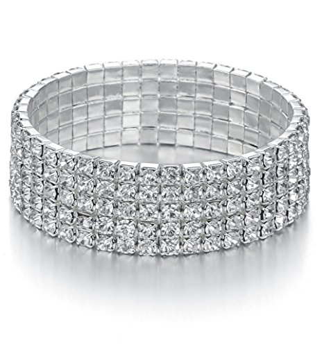 - JEWMAY Yumei Jewelry 5 Strand Rhinestone Stretch Bracelet Silver-Tone Sparkling Bridal Tennis Bangle