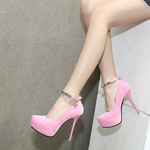 GTVERNH-La primavera de zapatos de mujer Tacones altos delgados zapatos zapatos impermeables cabeza redonda Suede profesional de calzado zapatos Pink