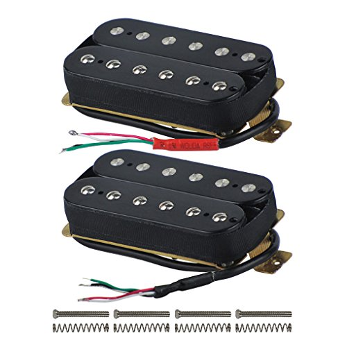 FLEOR High Output Alnico 5 Guitar Pickup Double Coil Humbucker Pickups Neck and Bridge Set Black Black Humbucker Double Coil
