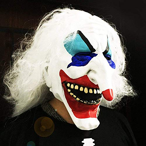 LRRH Happy Halloween Grimace Hair Long Nose Clown Mask Masquerade Mask