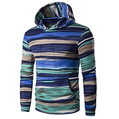 Cheap Oberora-Men Fashion Hoodie Color Block Stripe Hooded Pullover Sweatshirt With Pockets