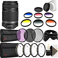 Canon EF-S 55-250mm f/4.0-5.6 IS II Telephoto Zoom Lens for DSLR Cameras with Accessories